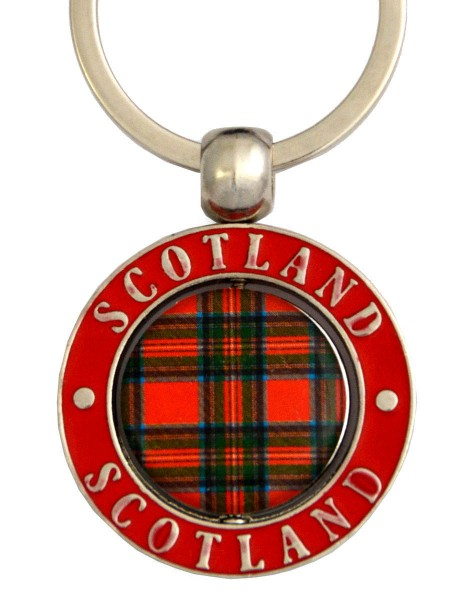 Scottish Tartan Metal Spinner Keyring 35mm