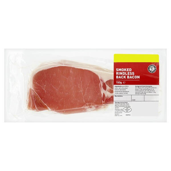 Euro Shopper Smoked Rindless Back Bacon 150g
