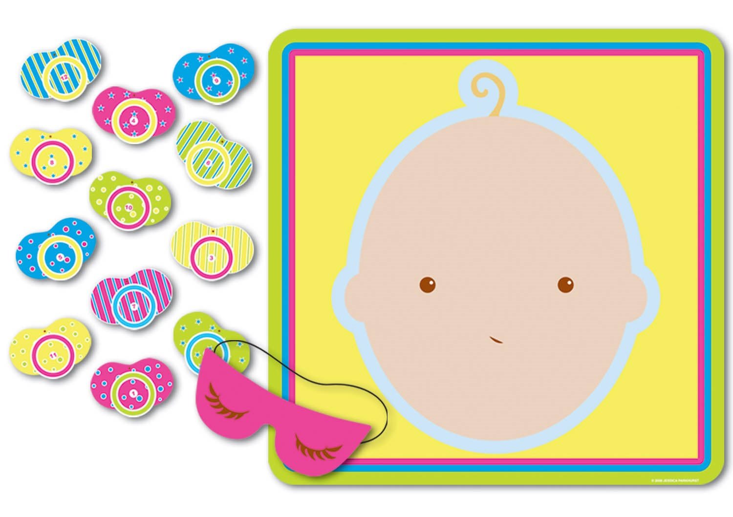 Partyspiel Pin the Pacifier on the Baby