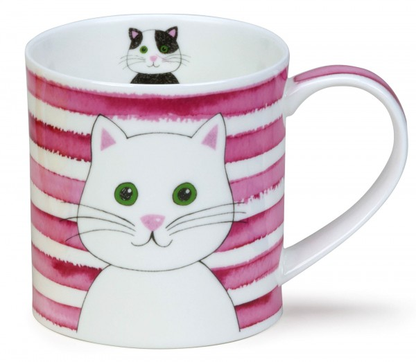 Dunoon Orkney Stripy Cats Pink by Caroline Bessey