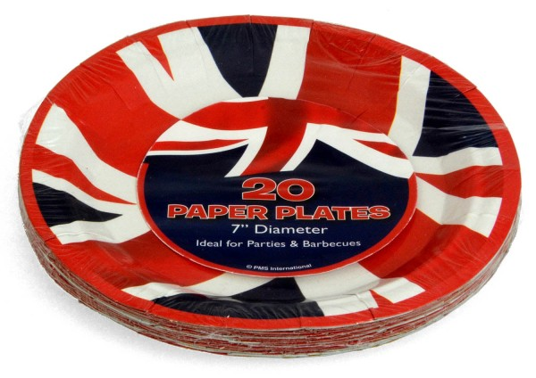 Pappteller Union Jack 18cm rund 20er-Pack