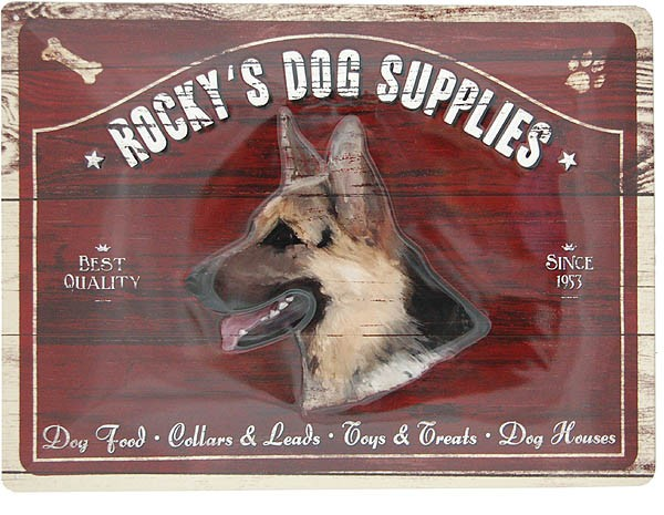 Metal Sign ´Rocky´s Dog Supplies´