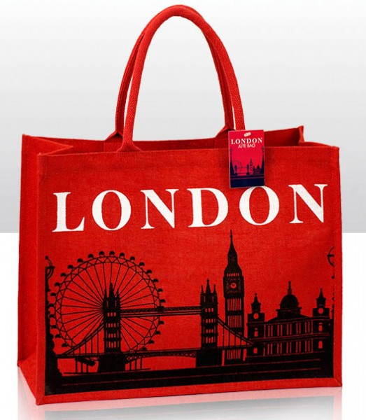 London Skyline Jute Shopper