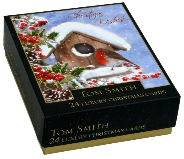 24 Tom Smith Christmas Cards Winter Robin