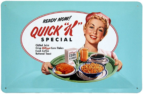 Metal Sign ´Ready Now! Kelloggs Quick K Special Menu´