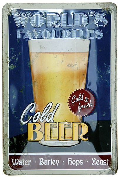 Metal Sign ´World´s Favourites: Cold Beer´