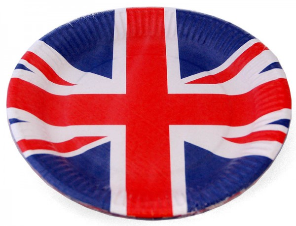 Pappteller Union Jack rund 8er-Pack