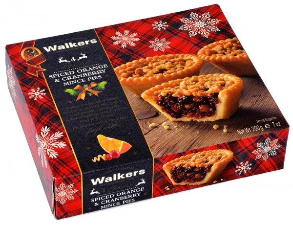 Walkers Luxury Spiced Orange & Cranberry Mince Pies 200g