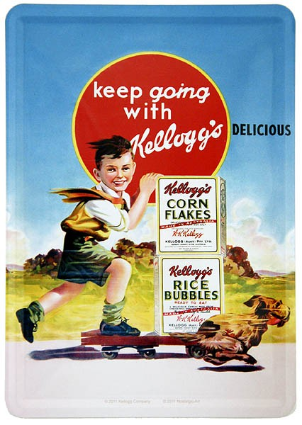 Metal Card Blechkarte ´Keep Going With Kellogg´s´