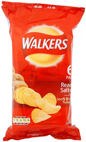 Walkers Ready Salted, 6 x 25g Pack