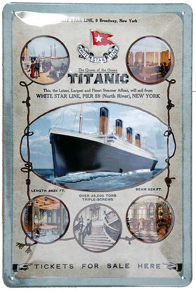 Metal Sign ´Titanic Tickets For Sale Here´