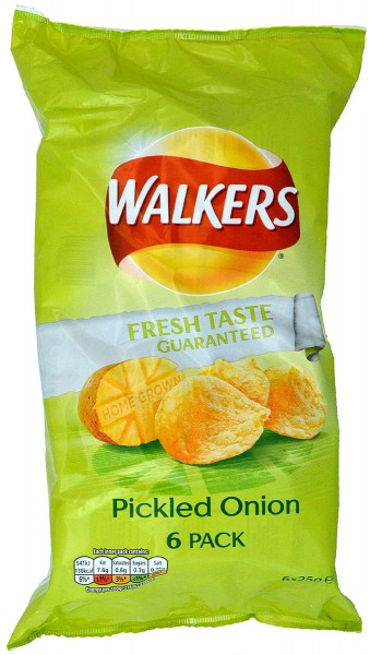 Walkers Pickled Onion, 6 x 25g Pack