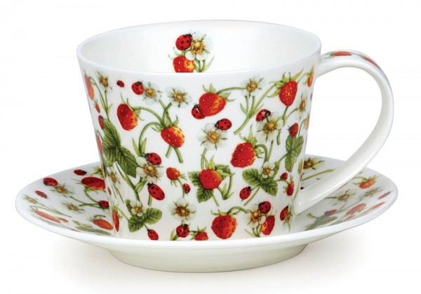 Dunoon Islay Cup & Saucer Dovedale Strawberry by Jane Fern