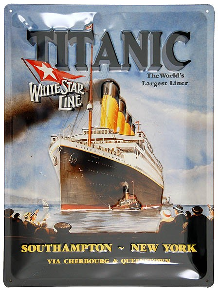 Metal Sign ´Titanic With Tugs´ Black