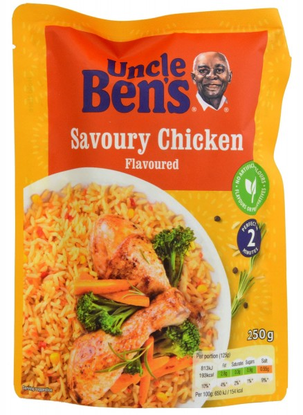 Uncle Bens Savoury Chicken Flavour Rice Microwaveable 250g