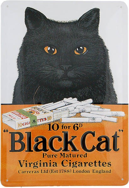 Metal Sign ´Black Cat Virginia Cigarettes´