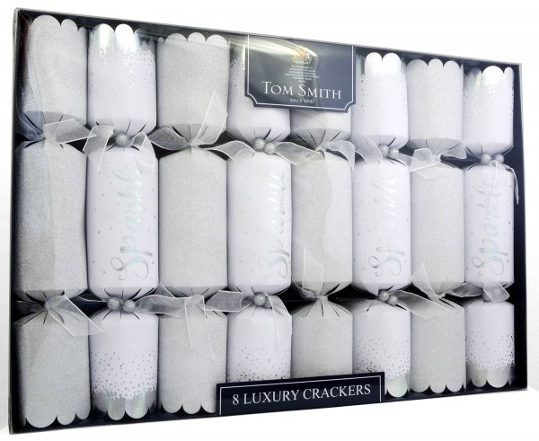Tom Smith 8 Silver-White Luxury Christmas Crackers