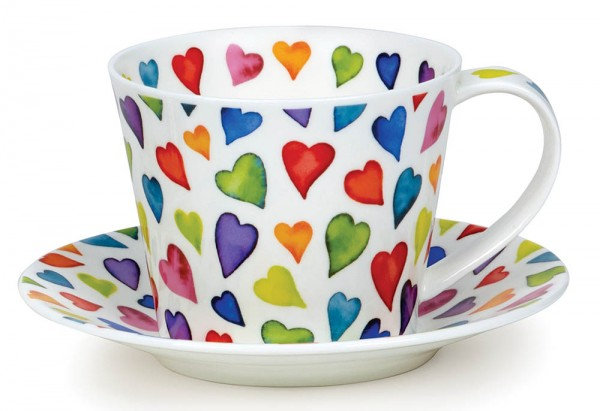 Dunoon Islay Cup & Saucer Warm Hearts by Caroline Bessey