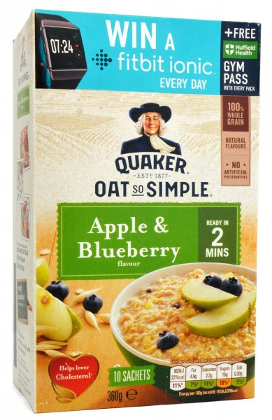 Quaker Oat So Simple Apple & Blueberry Porridge 10er-Pack 360g