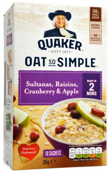 Quaker Oats So Simple Sultanas, Raisins, Cranberry & Apple 10-pack