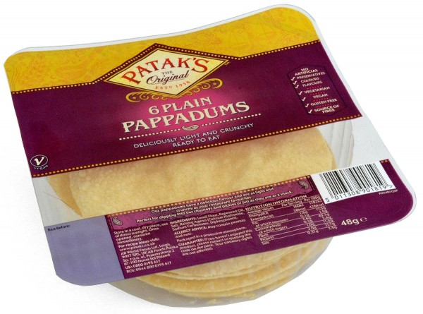 Pataks Plain Pappadums Poppadoms Ready to Eat 6pcs.