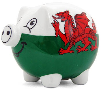 Wales Flag Ceramic Piggy Bank