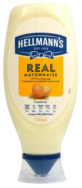 Hellmanns Real Mayonnaise 750ml Squeezy