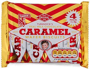 Tunnocks 4 Caramel Wafer Biscuits