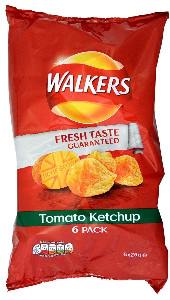 Walkers Tomato Ketchup, 6 x 25g Pack