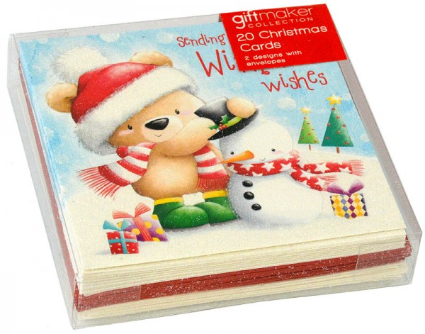 20 Christmas Cards Cute Bear - Bärchen
