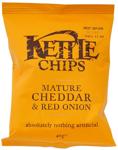 Kettle Chips Mature Cheddar & Onion, Tüte 40 g