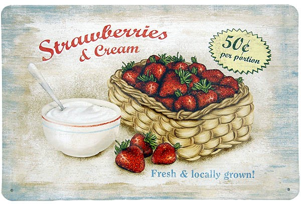 Metal Sign ´Strawberry & Cream´