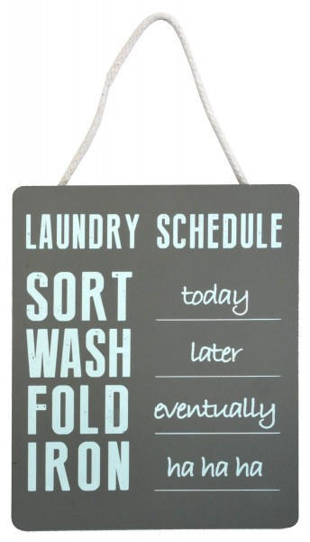 "Holzschild ""Laundry Schedule"""