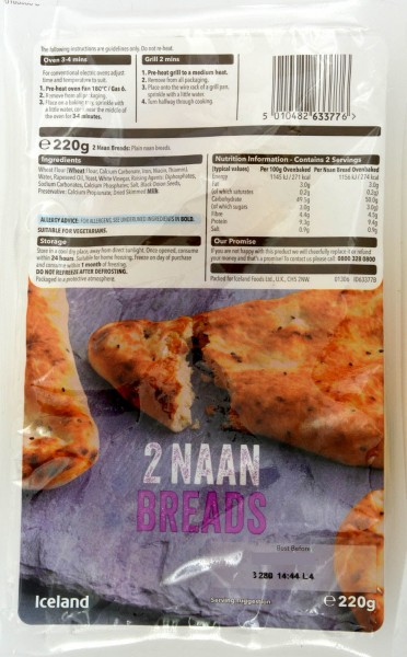 Iceland 2 Plain Naan Breads 220g