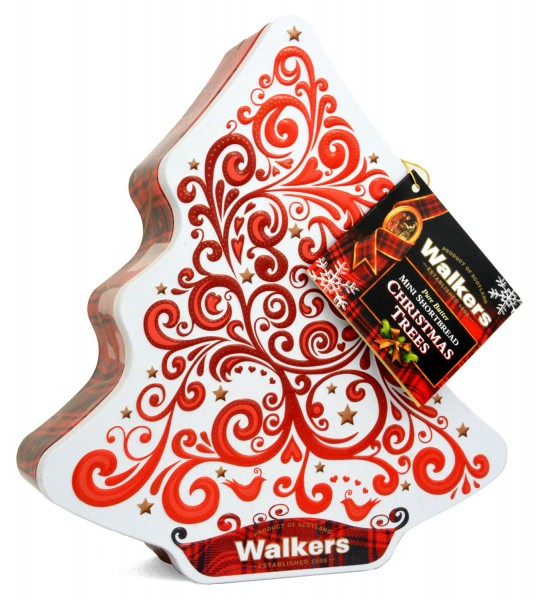 Walkers Christmas Tree Shortbread Tin Red/White 225g