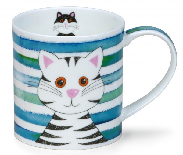 Dunoon Orkney Stripy Cats Turquoise by Caroline Bessey