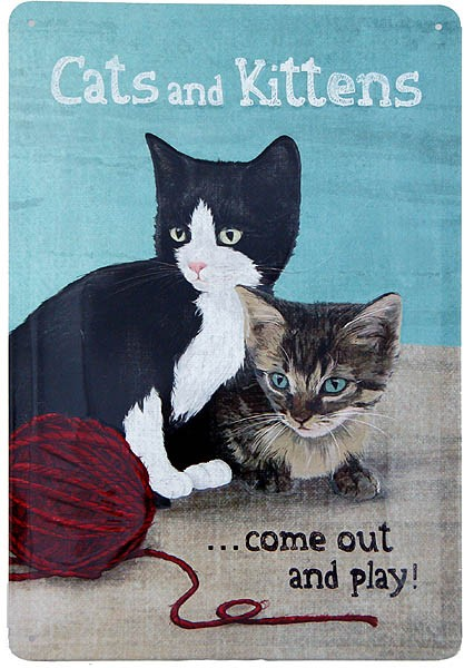 Metal Sign ´Cats and Kittens´