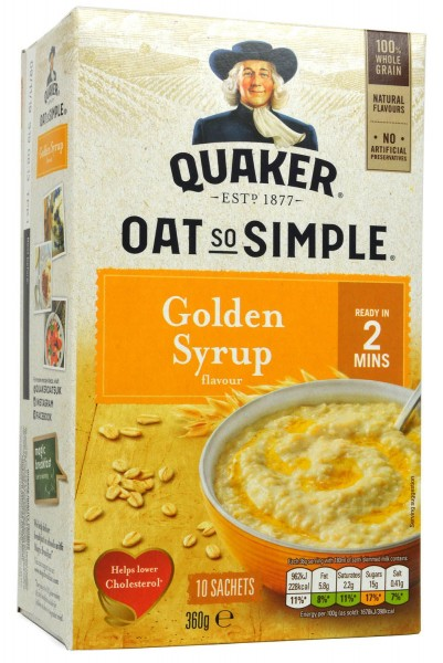 Quaker Oats So Simple Golden Syrup Porridge 10-pack