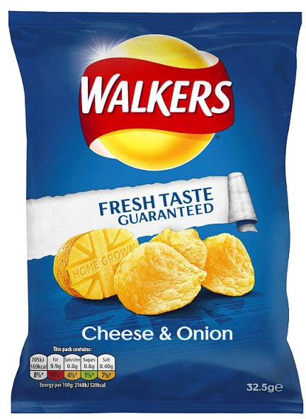 Walkers Cheese & Onion, Karton 32 x 32,5g