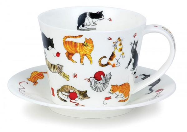 Dunoon Islay Cup & Saucer Cute Cats by Kate Mawdsley