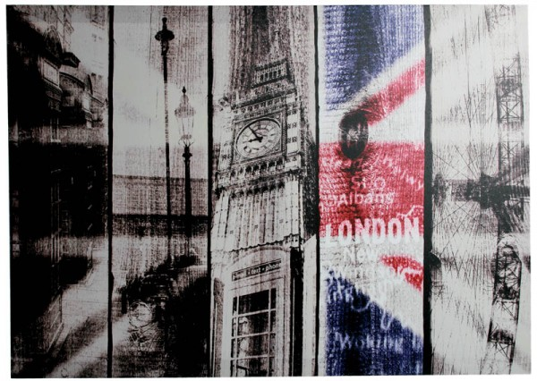 Vintage Look London Wandbild 70x50cm