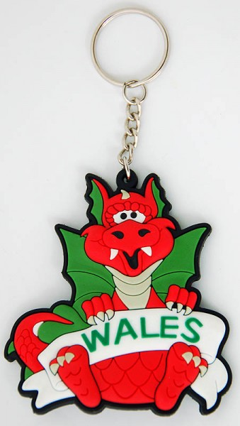 Welsh Dragon PVC Keyring