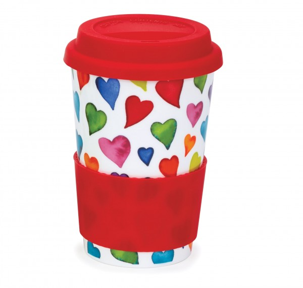 Dunoon Travel Mug Warm Hearts by Caroline Bessey