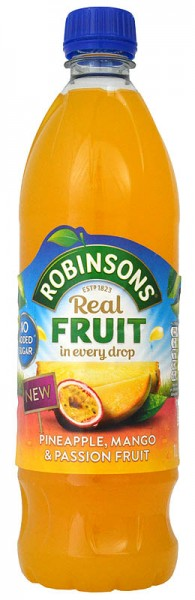 Robinsons Pineapple, Mango & Passion Fruit No Added Sugar NAS