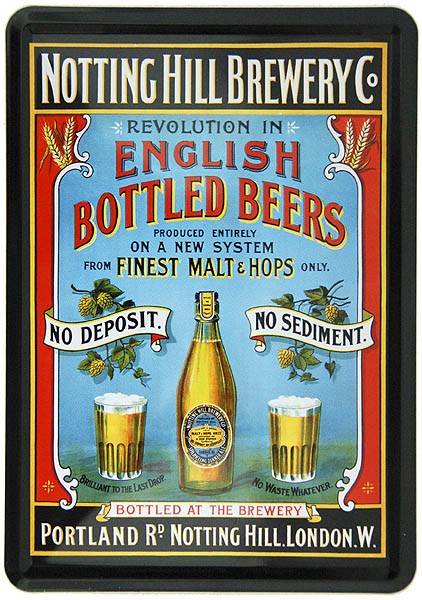 Metal Postcard Blechpostkarte ´English Bottled Beers´