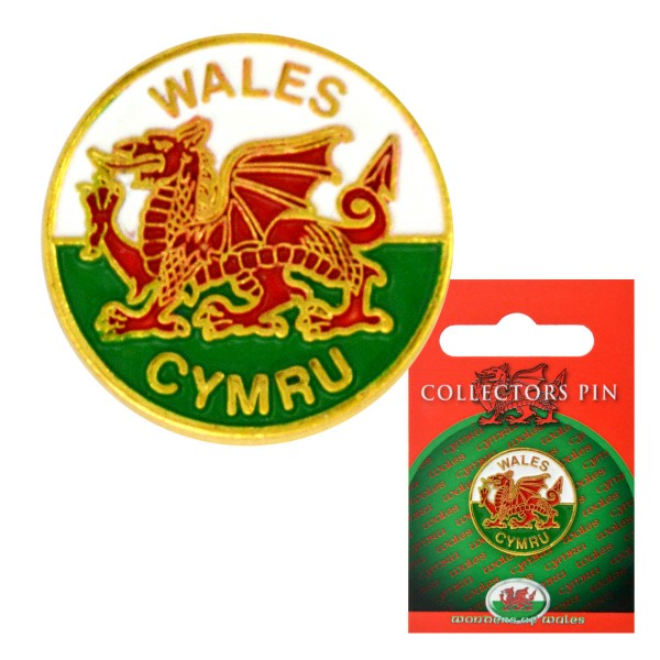 Welsh Flag Round Pin
