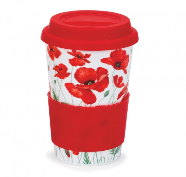 Dunoon Travel Mug Poppies Red by Anne Searle