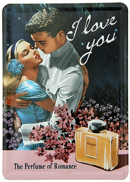 Metal Postcard Blechpostkarte ´I love you´ Perfume