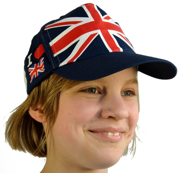 Baseball Cap Union Jack Panel I Love Britain Blue-White