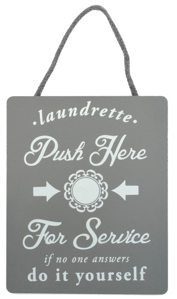 "Holzschild ""Laundrette - Push Here For Service"""